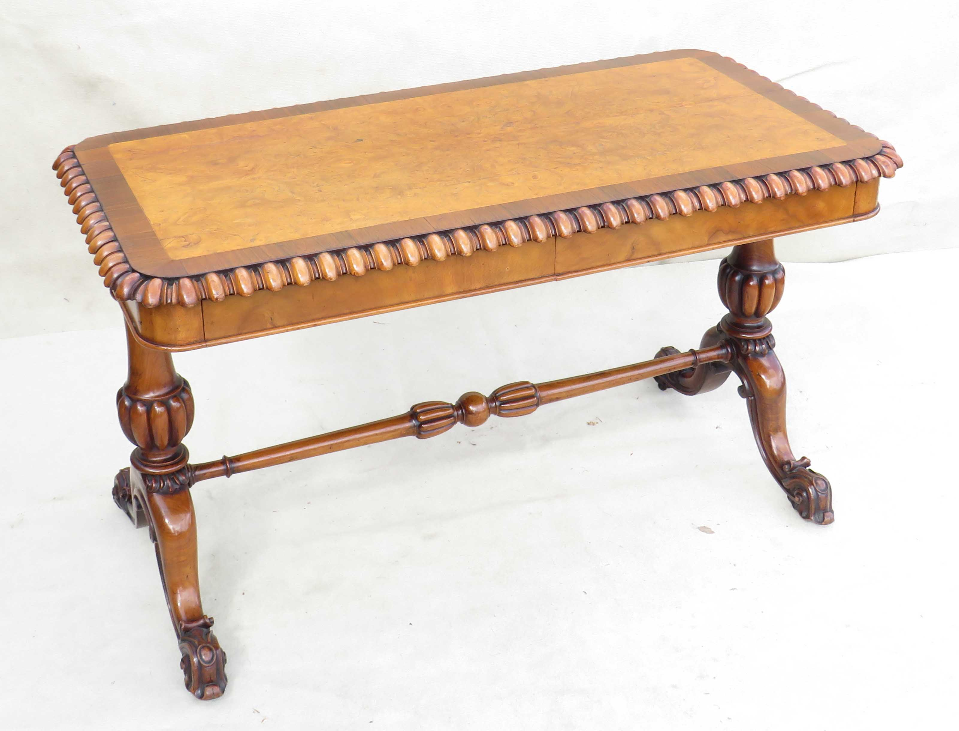 Mid 19th Century walnut and burr elm library table