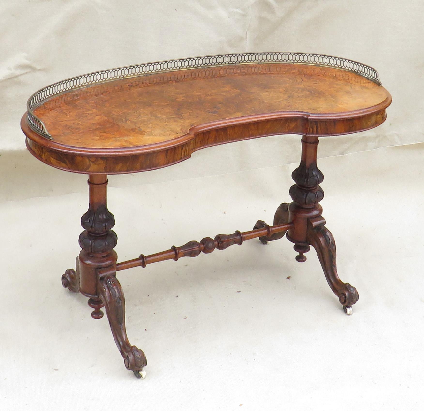Walnut Kidney Shaped Writing Table, English Mid 19th Century