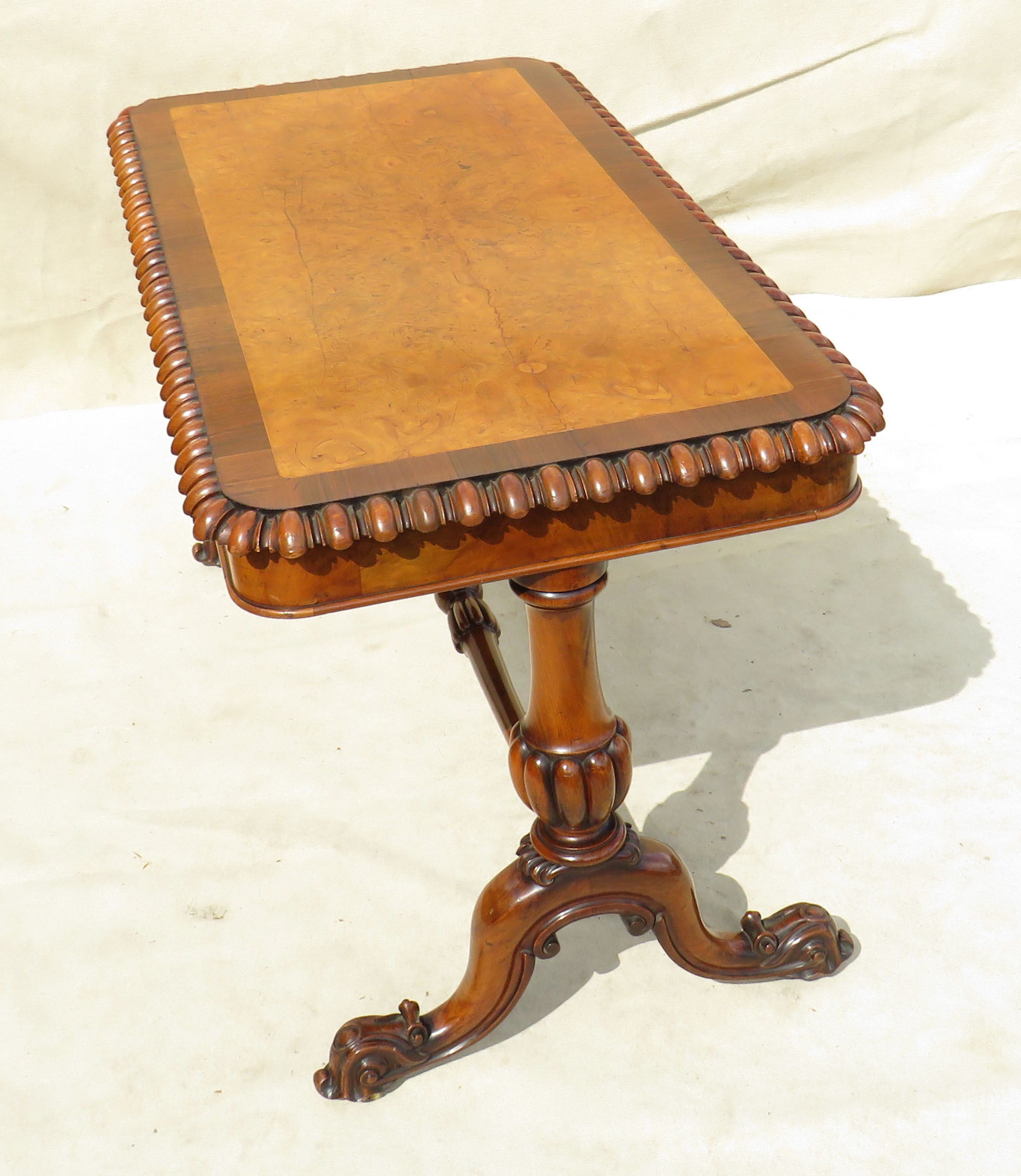Mid 19th Century walnut and burr elm library table - Image 3 of 9