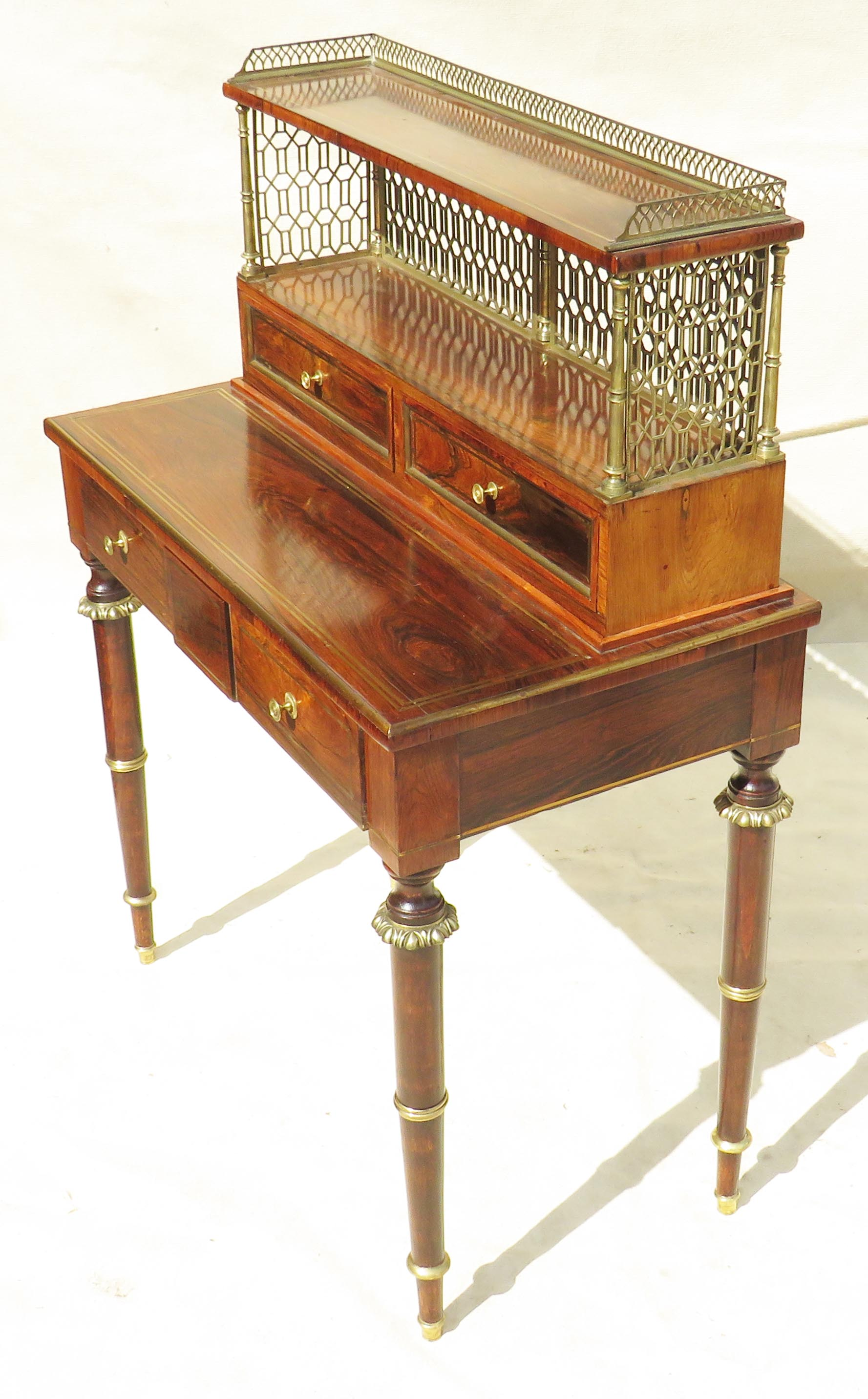 Superb quality Regency period early 19th Century rosewood bonheur du jour - Image 2 of 7