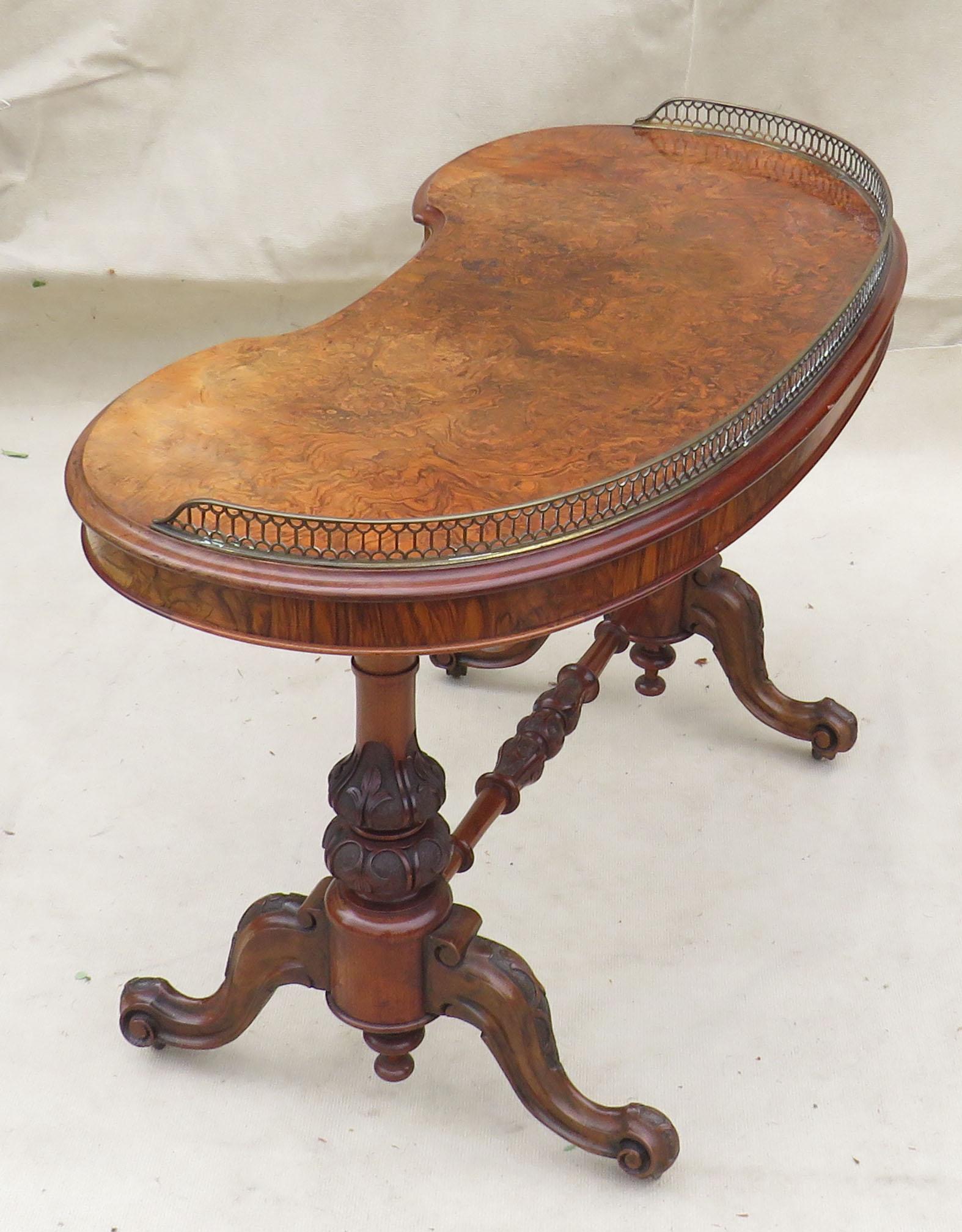 Walnut Kidney Shaped Writing Table, English Mid 19th Century - Image 6 of 8