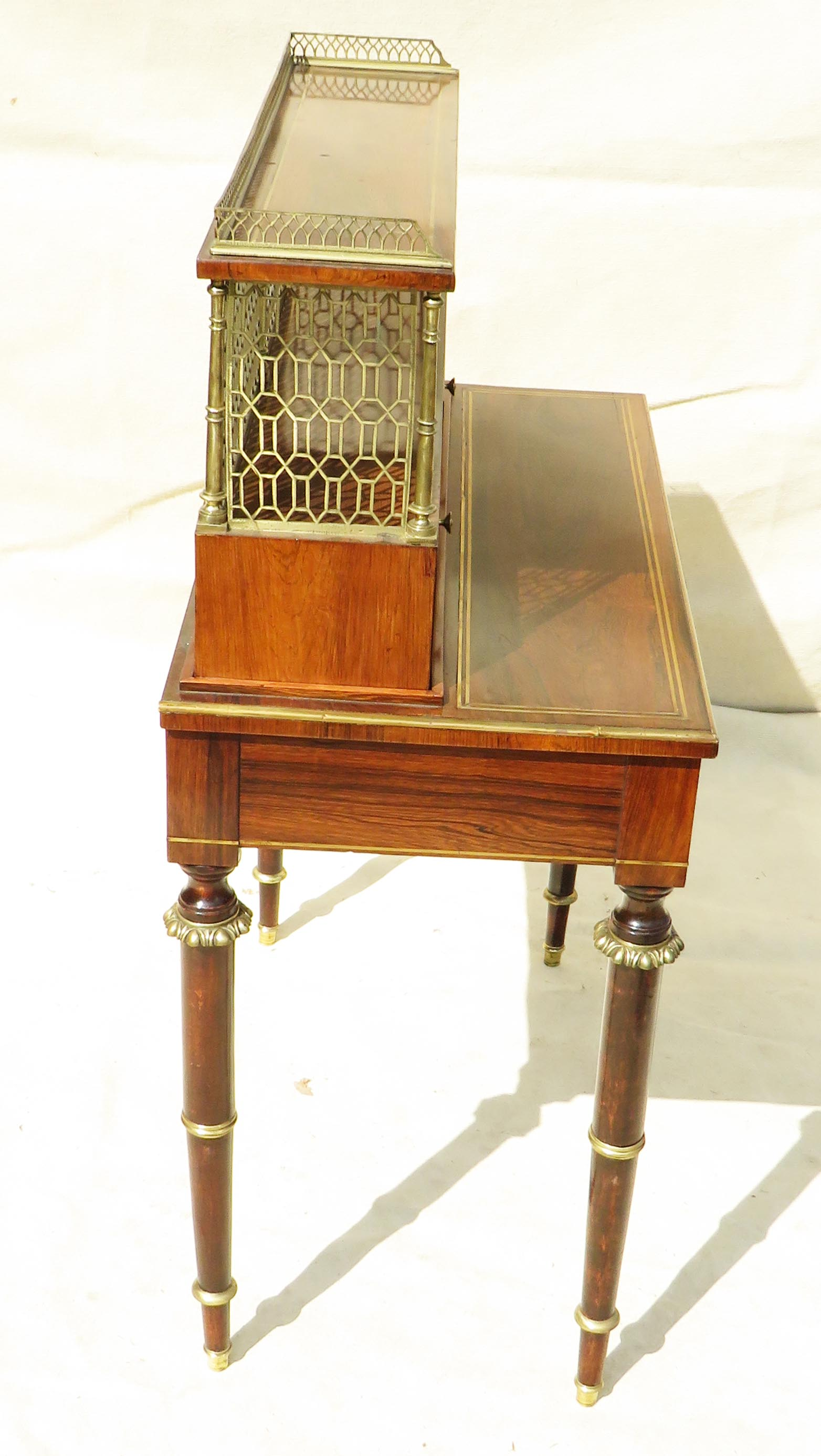 Superb quality Regency period early 19th Century rosewood bonheur du jour - Image 7 of 7