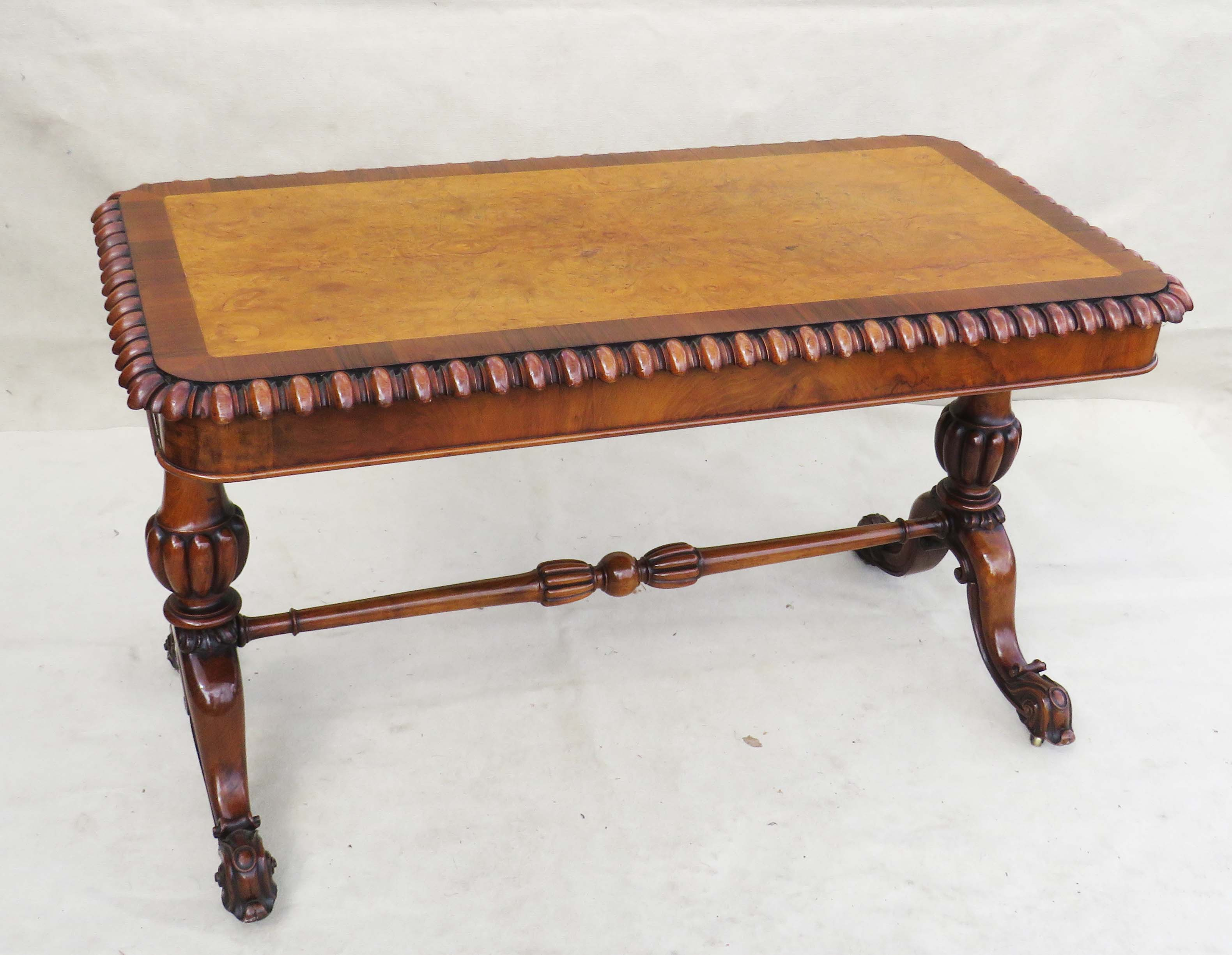Mid 19th Century walnut and burr elm library table - Image 6 of 9