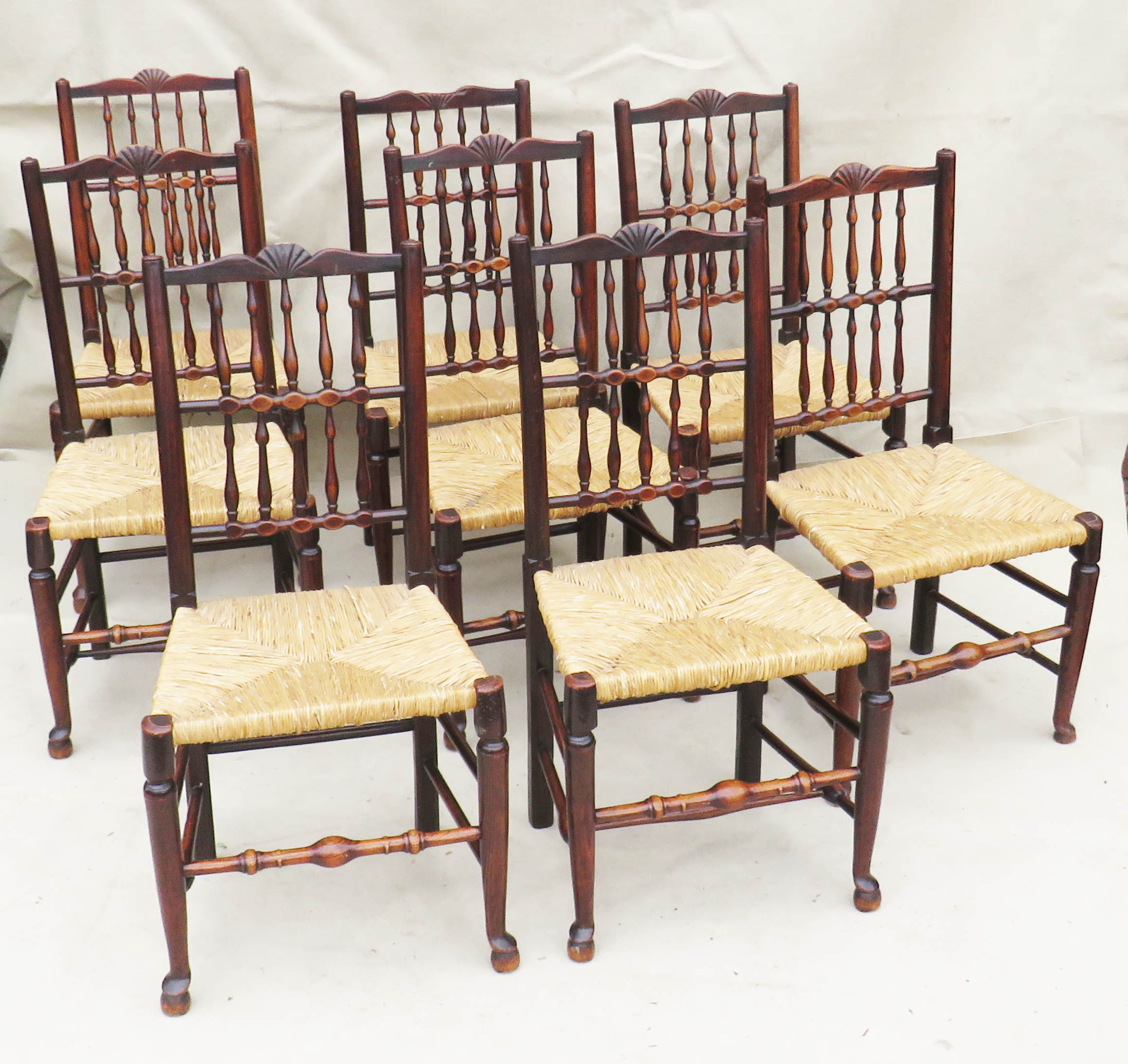 Matched Set Of 8 Spindle Back Dining Chairs, Early 19th Century