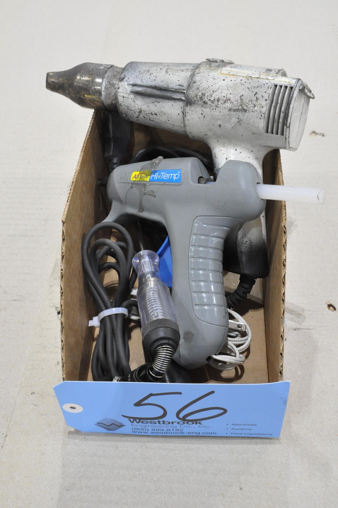 Lot-(1) Glue Gun, (1) Heat Gun and (1) Single Tip Tester in (1) Box
