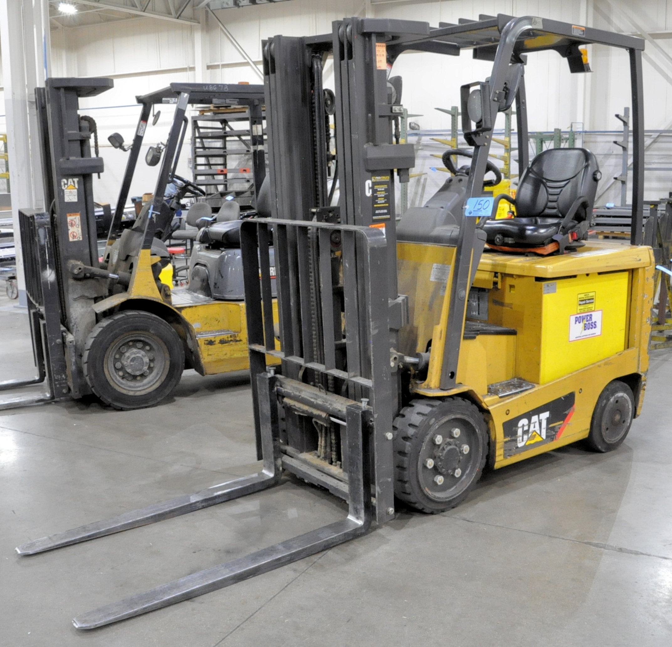 "Caterpillar Model EC25N2, 4,450-Lbs. x 188"" Lift Capacity Electric Fork Lift, 3 Stage Mast, Charger"