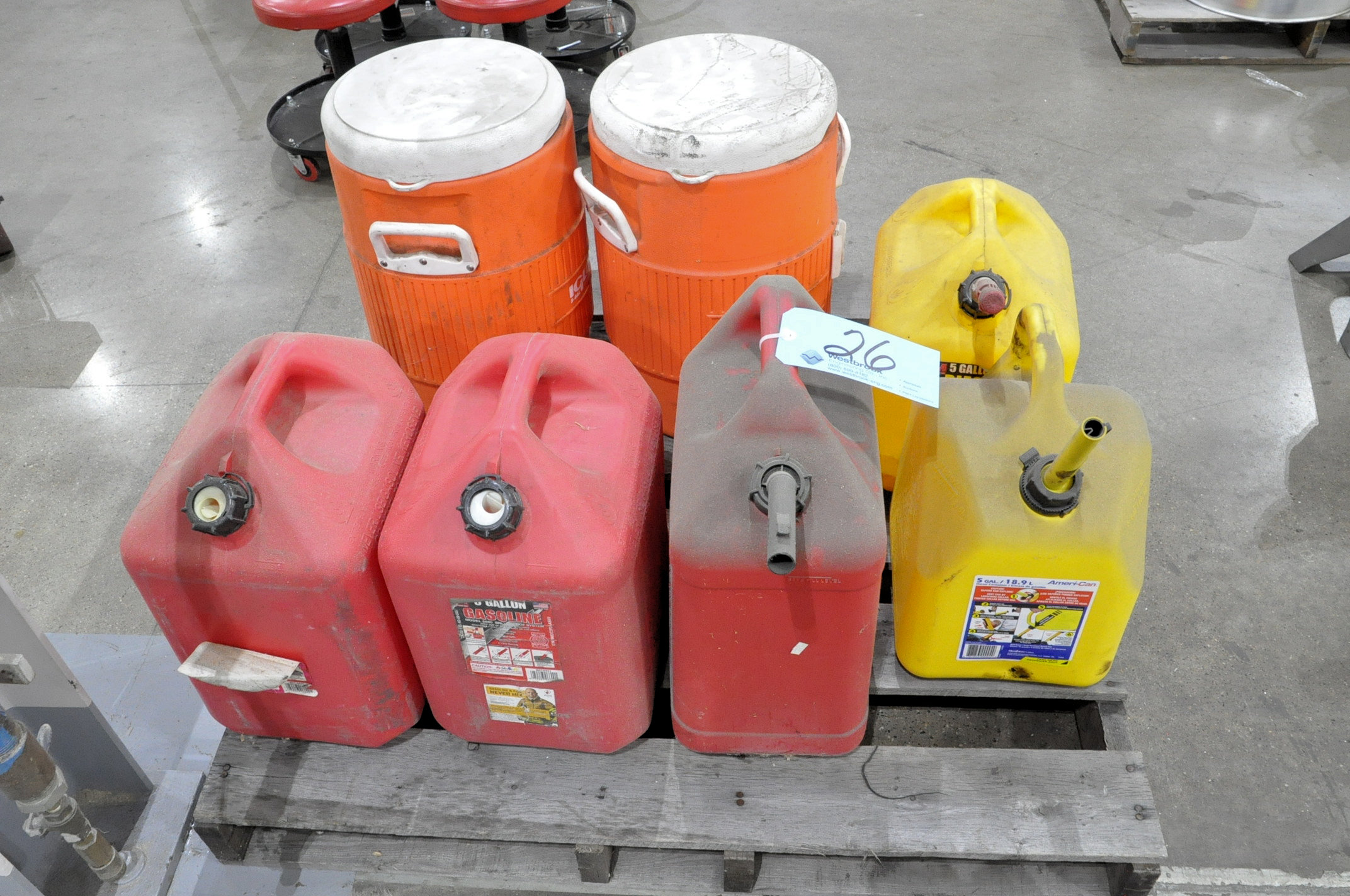 Lot-(5) Fuel Cans and (2) Drink Coolers on (1) Pallet