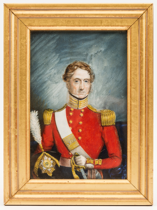 Lot 14 - A small oil painting, c 1850, of an officer of The 69th (South Lincolnshire) Regiment, waist length,