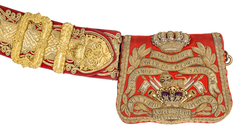 Lot 5 - A very good officer's full dress Edward VII shoulder belt and Victorian pouch of the 15th (the
