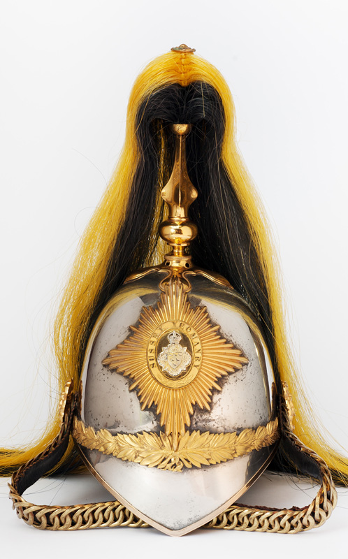 Lot 44 - A very fine post 1902 officer's helmet of the Sussex Yeomanry, silver plated skull, gilt mounts