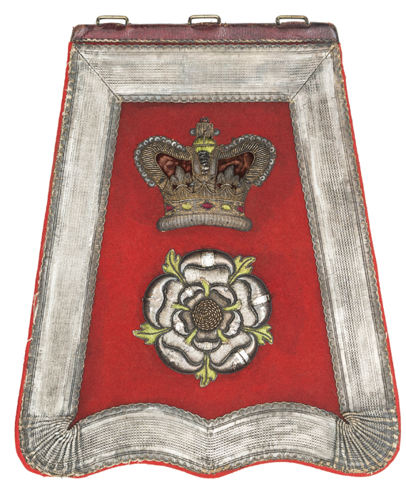 Lot 36 - A Victorian officer's full dress embroidered sabretache of the Yorkshire Hussars, scarlet cloth with