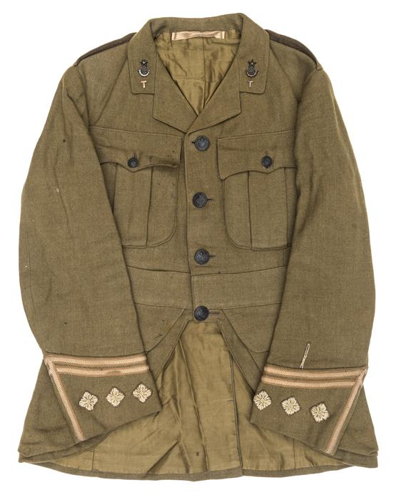 Lot 20 - A World War I Captain's khaki service dress doublet of a territorial battalion of The Cameronians (