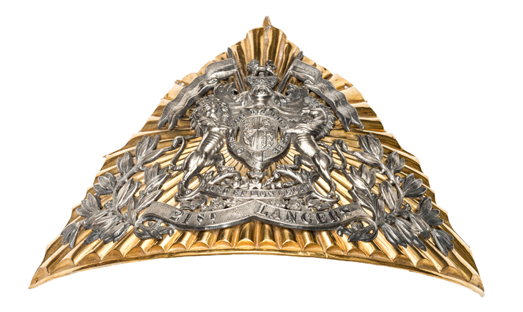 A rare 1st pattern Victorian officer's gilt and silver plated lance cap plate, 1897-98, of the