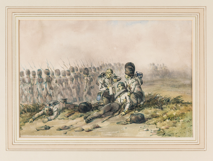 Lot 16 - A watercolour by Orlando Norie: The Scots Guards advancing with bayonets fixed during the Crimea