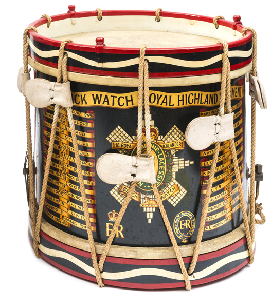 Lot 12 - An Elizabeth II painted brass side drum of The Black Watch (Royal Highlanders), bearing title