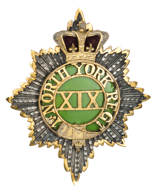 Lot 3 - An officer's gilt and silver plated 1822-29 shako plate of The 19th (1st York, North Riding)