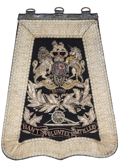 Lot 39 - A Victorian officer's full dress embroidered sabretache of the Second Hants Volunteer Artillery,