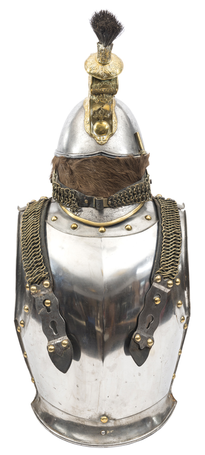 Lot 59 - A 19th century French Cuirassier trooper's helmet and cuirass: helmet with steel skull, brown