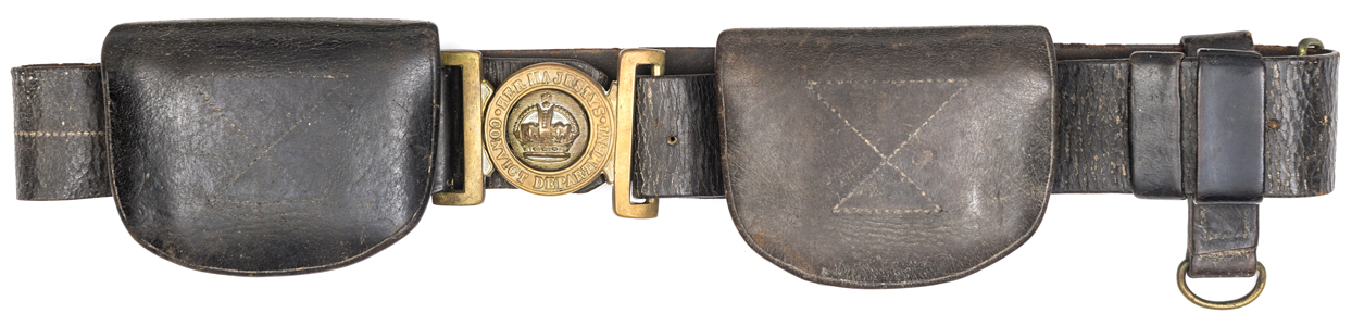 Lot 23 - A Victorian brown leather waistbelt and 2 pouches of Her Majesty's Convict Department, brass