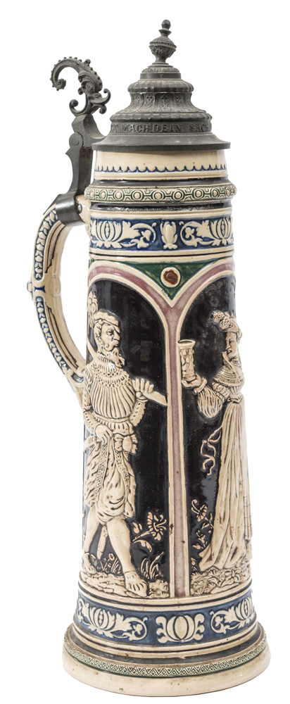 Lot 43 - An unusually tall German beerstein, with 3 panels depicting a 16th century musketeer, a lady with
