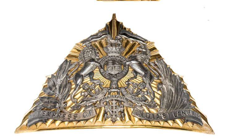 Lot 7 - A fine Victorian officer's 2nd pattern gilt and silver plated lance cap plate of the 21st (Empress