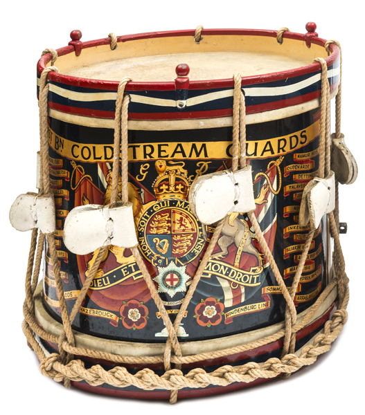 Lot 10 - A George V painted brass side drum of the 1st Bn Coldstream Guards, bearing title scroll, crowned