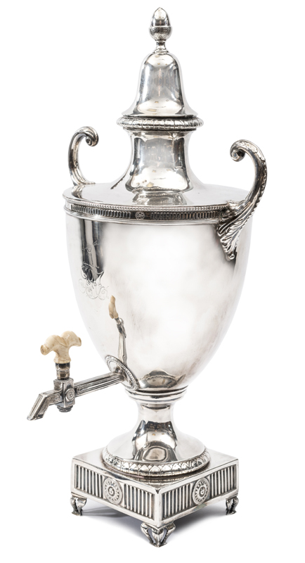 Lot 13 - An impressive Irish silver samovar, c 1820, plain body with beaded and panelled top rim and 2