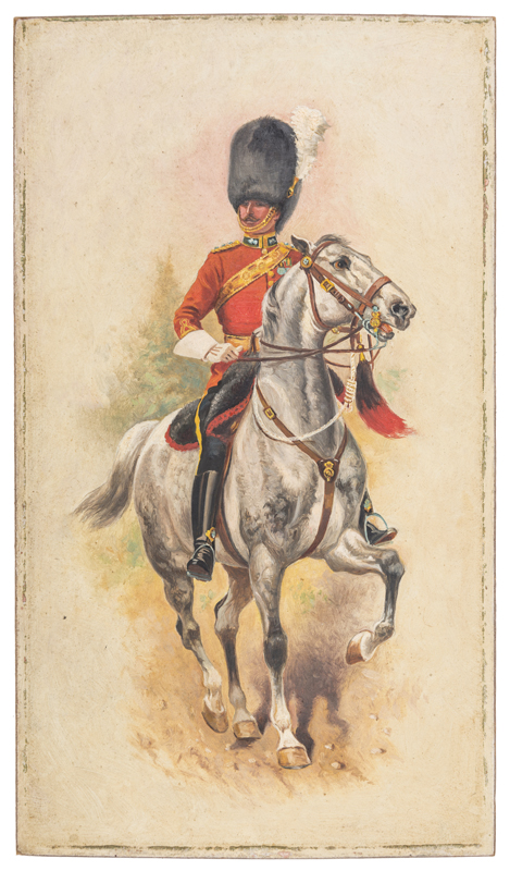 Lot 45 - An oil painting on board of a mounted officer of The Royal Scots Greys, in full dress on his grey