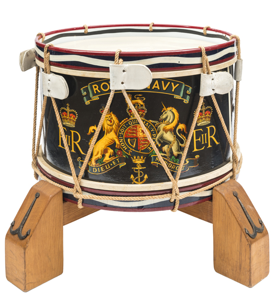 """Lot 11 - An Elizabeth II navy blue painted wooden tenor drum of The Royal Navy, bearing scroll """"Royal"""