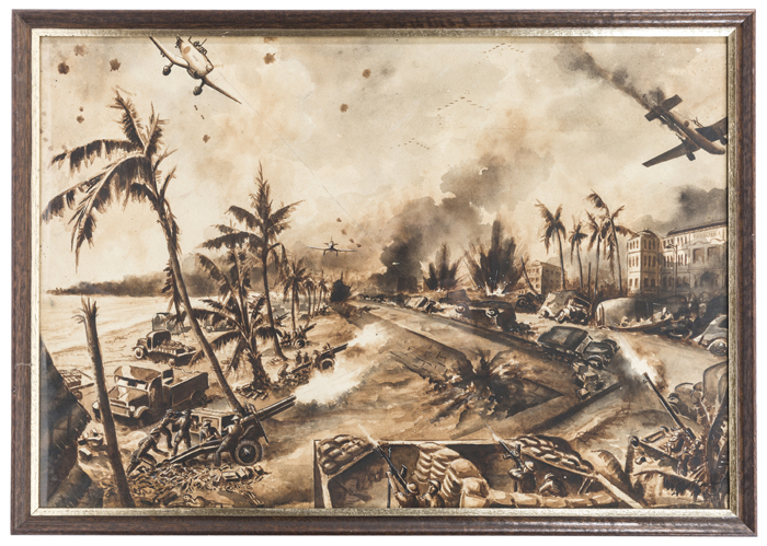 """Lot 19 - A dramatic World War II painting by Leo Rawlings """"Singapore's Last Stand"""", showing a promenade, with"""