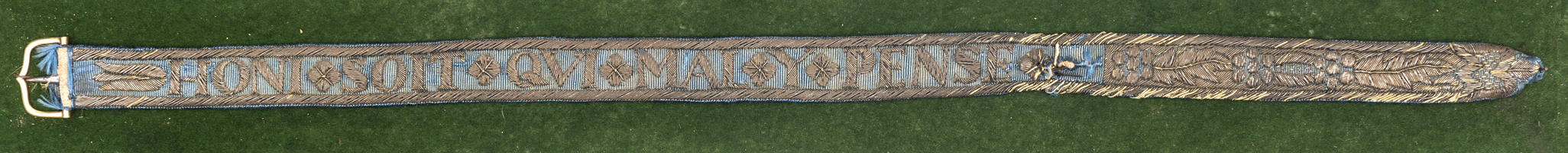 """Lot 22 - A rare and interesting Garter from the insignia of the Most Noble Order of the Garter, length 18½"""""""