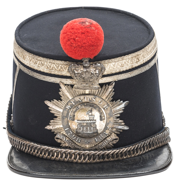 Lot 50 - A good officer's shako of the King's Own Stafford Militia, of blue cloth with silver lace and