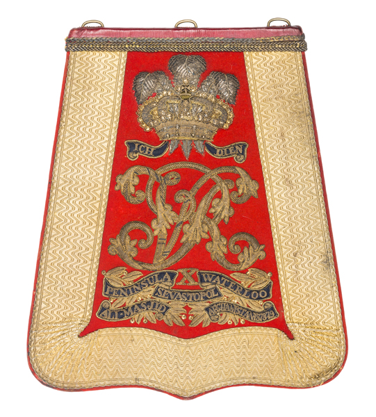 Lot 42 - A Victorian officer's full dress embroidered sabretache, c 1885, of the 10th (Prince of Wales's