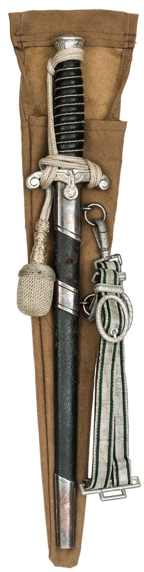 Lot 32 - A scarce Third Reich Land Customs officer's dagger, the blade bearing post 1941 Eickhorn mark,