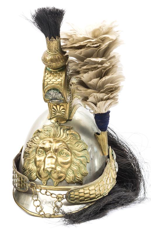 Lot 57 - A 19th century Belgian cavalry trooper's helmet, white metal skull and peaks, brass peak binding,