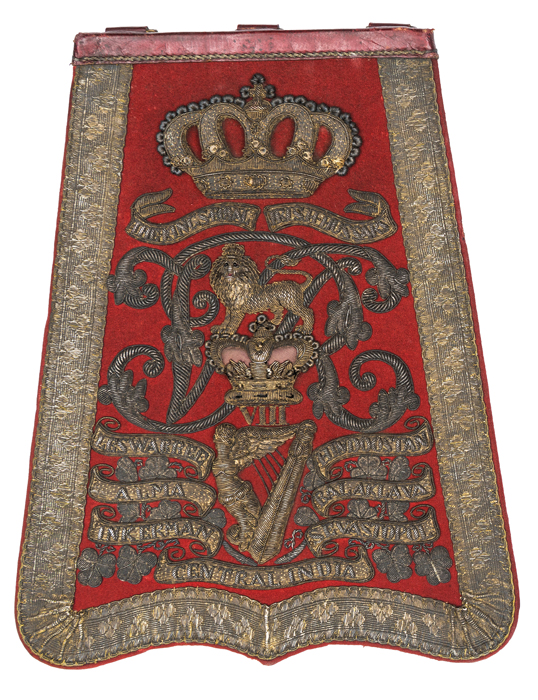 Lot 38 - A Victorian officer's full dress embroidered sabretache of the 8th (King's Royal Irish) Hussars,