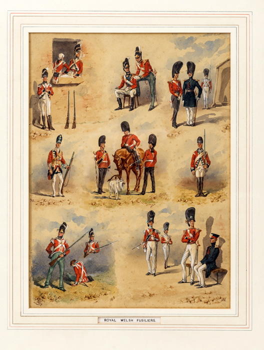 Lot 18 - A well executed montage of watercolours of The Royal Welsh Fusiliers by Reginald Wymer, dated