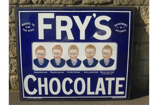 A Good Frys Chocolate Five Boys Enamel Sign With