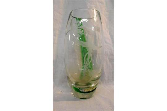 Caithness Humming Bird Vase With Etched Decoration Green Coloured