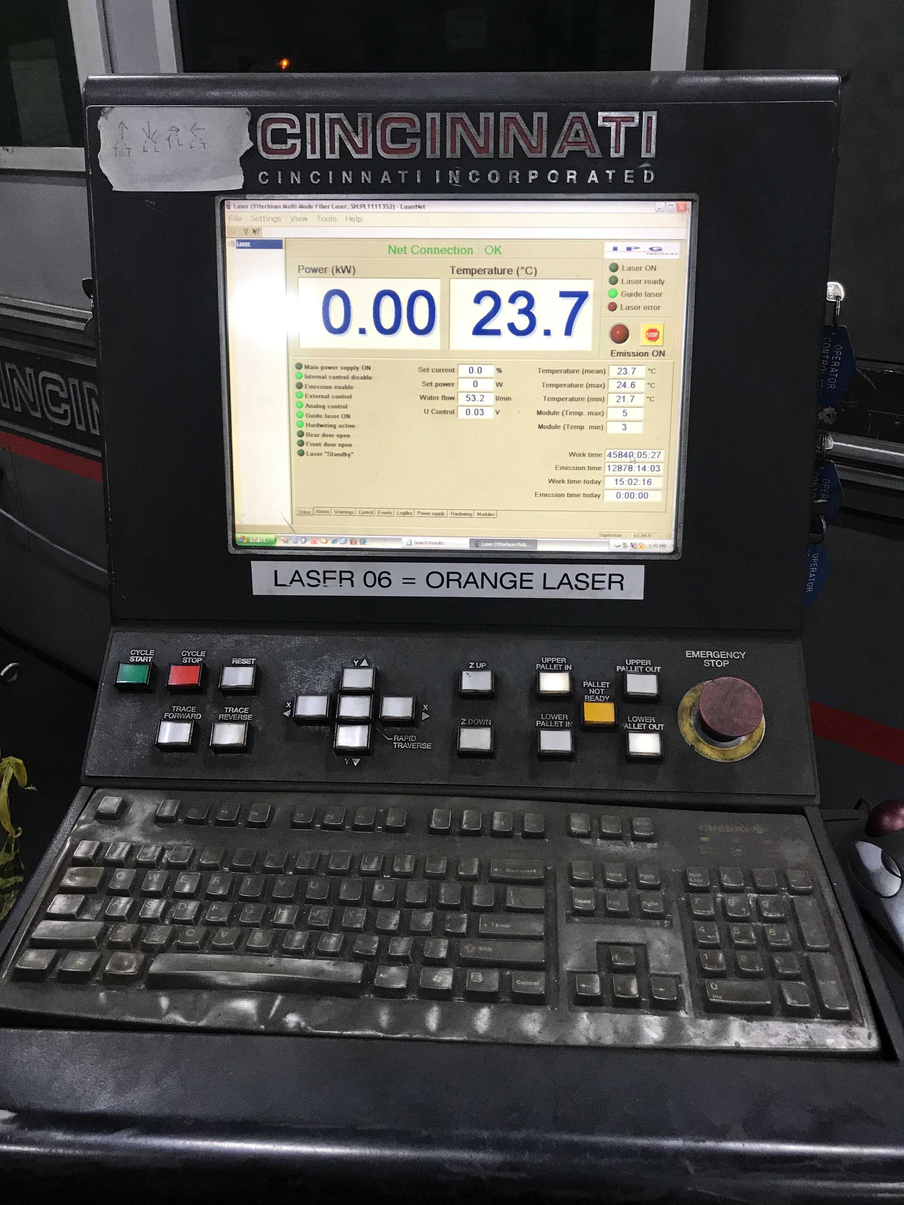 Cincinnati CL940 Fiber Laser, 4,000 Watt, 5' x 10' Dual Pallets, Chiller, Dust Collector, Low Hours - Image 6 of 7
