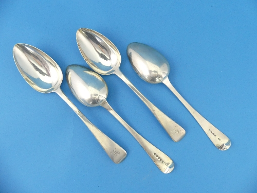 A set of four George III silver Table Spoons, by William Chawner II, hallmarked London, 1819, Old