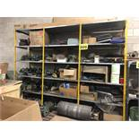 SHELVING WITH ASSORTED SEWING DRIVERS, BLOWER FANS, STUFFING ROLLER ELECTRIC DRIVE MOTORS WIYJ