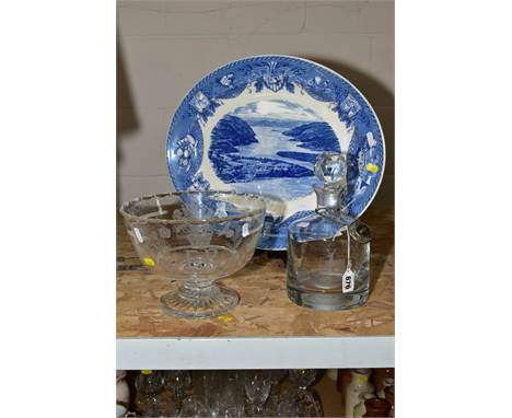 A WEDGWOOD BLUE AND WHITE OVAL MEAT PLATTER, showing the United States Military Academy New York 1951, with a cut glass foote