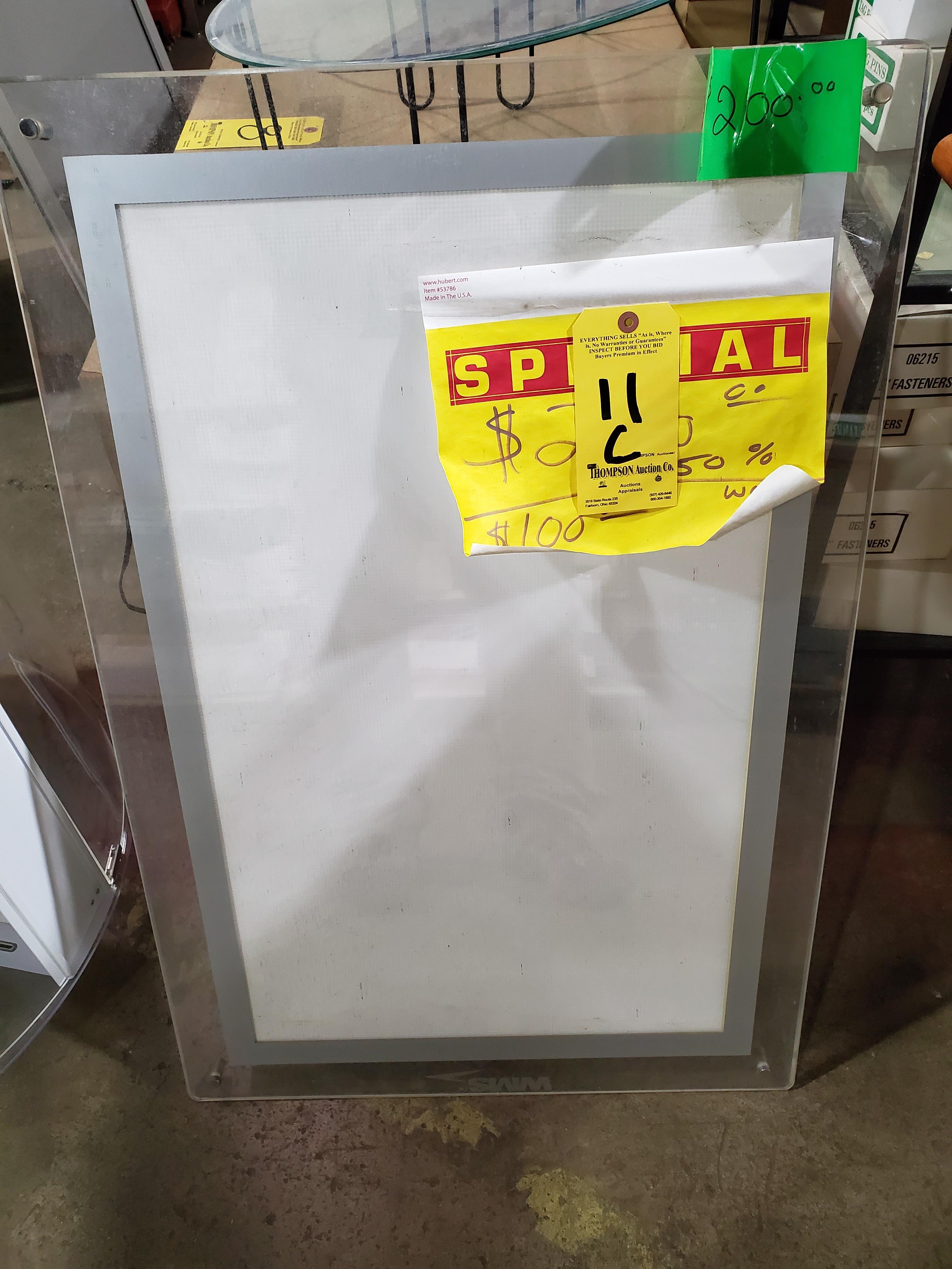 """Lighted Plexiglas Sign Board, 36"""" H x 24"""" W"""