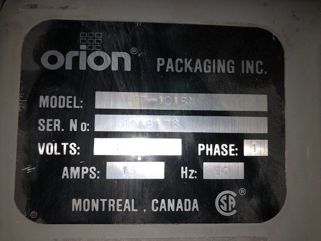 Pallet stretch wrapper Orion M67-121SX, s/n: 6046176, 115V, 15A - Image 2 of 2