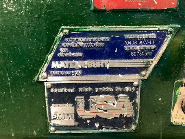 Lot 34 - Labeller gallons/quarts Mateer-Burt, model: 704DBMKV-LH, s/n: 807305 600V Rago line