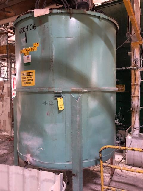 """Lot 72 - Tank 1, 1500 gals,Stainless Steel, round 72""""dia x 84"""" high, Motor 10hp 600v frame 256t, 1160rpm,"""