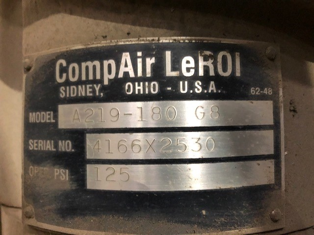 Air Compressor 50hp #1 CompAir LeRoi, model: A219-180 G8, s/n: 4166X2530, 125psi, 50hp 600v - Image 3 of 3