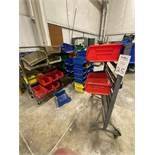 Lot of Plastic Shop Storage Bins And Portable Metal Racks