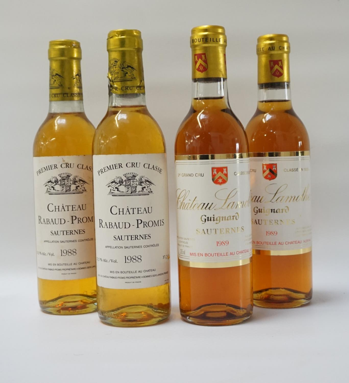 FOUR BOTTLES OF VINTAGE SAUTERNES Examples of Vintage Sauternes from two classic producers. Two